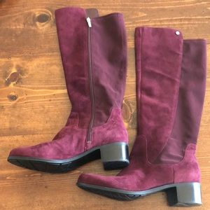 Marc Fisher Wide Calf Riding Boots in Wine